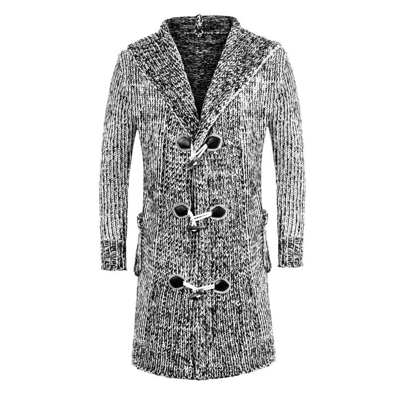 Hommes hiver chaud à capuche longue Sweatercoat mode Style hommes plus épais chaud décontracté chandails Cardigan longs chandails taille 3XL