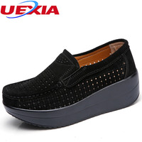 Luxury Platform Women Flats Breathable Casual Driving Shoes Female Peas Canvas Fashion Slip On Hollow Breathable