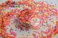 Hn3-47 Mix 3 MM de Color neón resistente a los disolventes Glitter forma del corazón del brillo de uñas de acrílico polaco, DIY supplies1pack = 50 g
