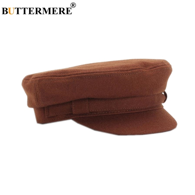 BUTTERMERE Mulheres Baker Boy Chapéu de Lã Senhoras Café Chapéu Militar Do Exército  Cap Viseira Primavera f97f331a6bd