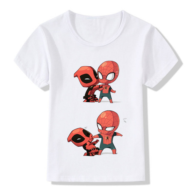 2017 Deadpool Spiderman Superhero Funny Children T-Shirts Summer Tops Toddler Boys/Girls Clothes Costumes Baby Kids Tees,HKP2238