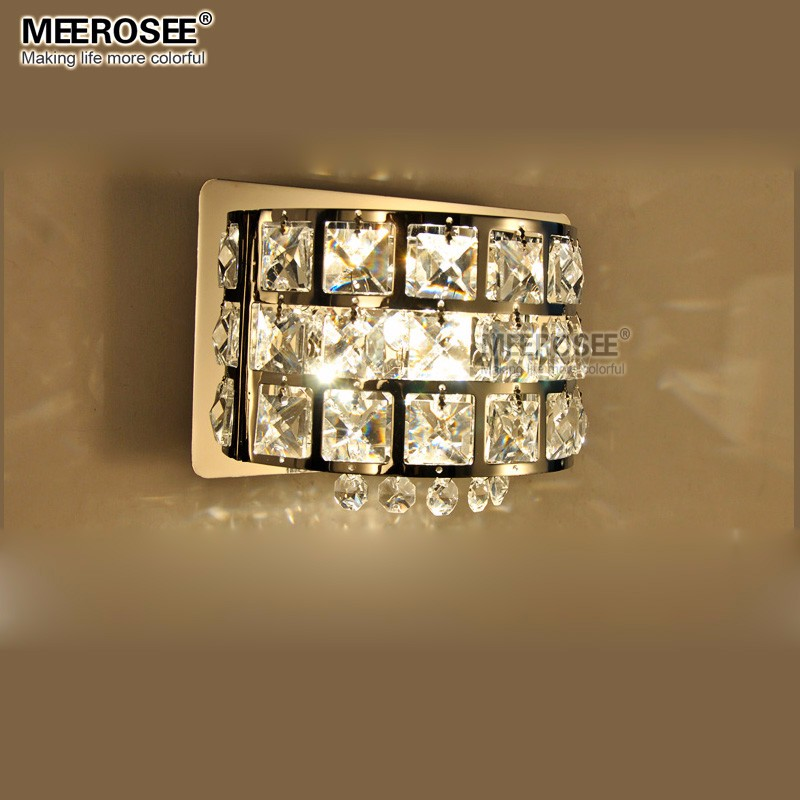 Modern Crystal Wall Light Chrome Metal Wall Lamp Lustre Bed Side Lights Bedroom Study Luminaria Led Applique Murale Luminaire