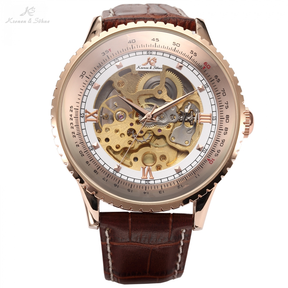 Classic Luxury KS Royal Big Case Automatic Mechanical Skeleton Relogio Self Winding Men Leather Strap Dress Watches Gift /KS113 ks golden stainless steel case automatic mechanical movement analog leather strap men self winding casual watches ks172