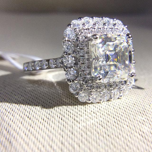 14k White Gold 2.7ctw DF Asscher Cut Engagement Wedding Lab Grown Moissanite Diamond Halo Ring Test Positive Lab Grown Diamond