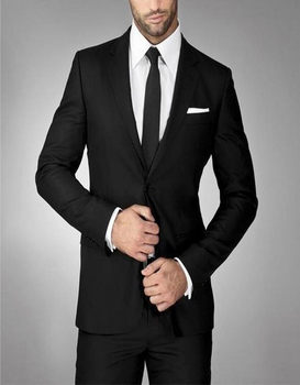 High Quality Groom Tuxedos Slim Fitting Black Notched Lapel Single-breasted Groomsman Tailcoat Two Buttons (jacket+pants)