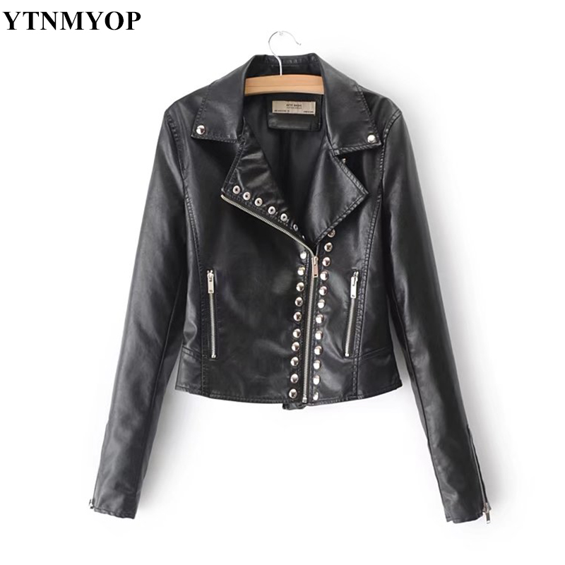 YTNMYOP 2018 New Slim Fashion Motorcycle   Leather   Jacket Women Short Biker   Leather   Coat Outerwear Have Pockets Female   Suede