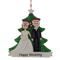 זוג גליטר שרף חג מולד קישוטים לעץ אירוסין מתנות מזכרות חתונה אישית שם חינם זרוק לתפאורת חתונה