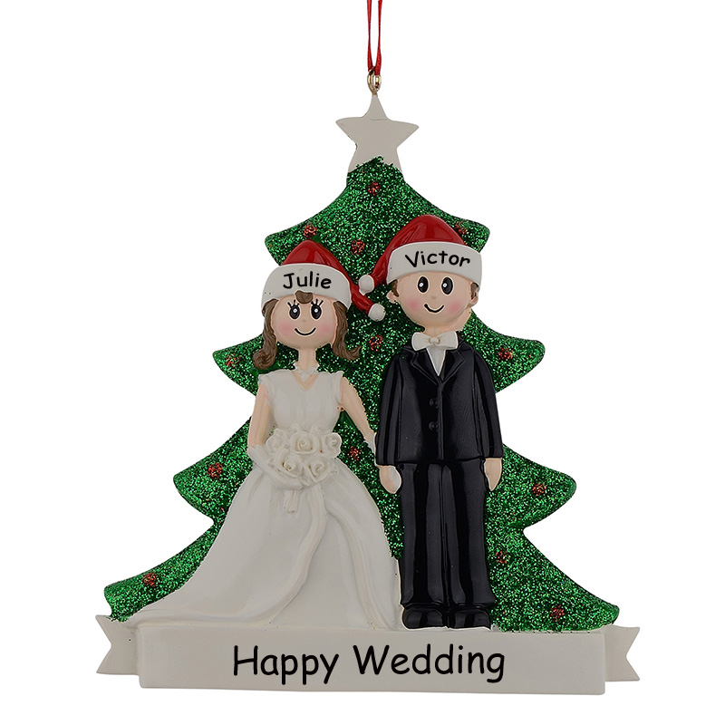 Coppia Glitter in resina Natale Engagement Tree Ornaments Souvenir di nozze Regali personalizzati Nome gratuito Drop For Wedding Decor
