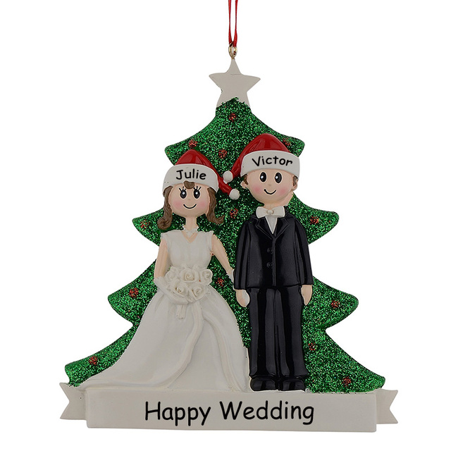 Couple Glitter Resin Christmas Engagement Tree Ornaments Wedding ...