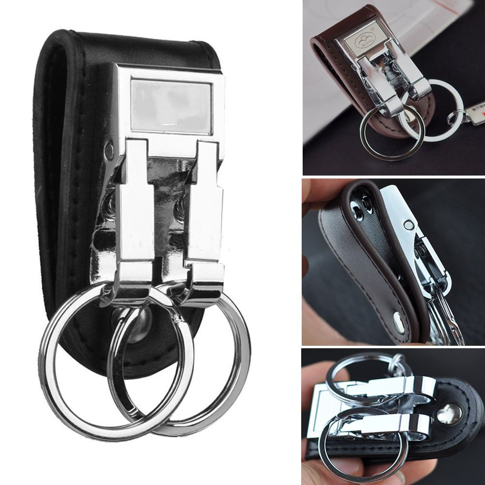 Fashion Men's Business Genuine Leather Belt Buckle Clip 2 Loops Key Chain Key Ring Holder Men Apparel Accessories