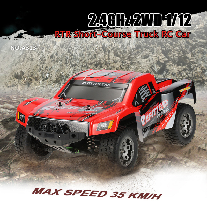 rc car A313 2.4GHz 2WD 1/12 35km/h High power 390 motor Rechargeable Shockproof RC Short Truck OFF Road Car Remote Control Toys huanqi 739 high speed rc cars 1 10 scale 2 4g 2wd 42km h rechargeable remote control short truck off road car rtr vehicle toy