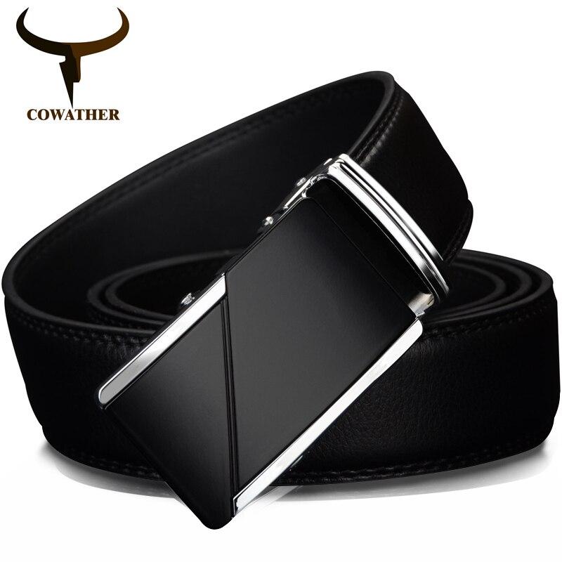 COWATHER VACA Cinturones de Cuero genuino para Los Hombres de Alta Calidad  de la Marca Masculina Automática Hebilla Del Trinquete de 1.25 35mm de  Ancho ... f4cfeb607589