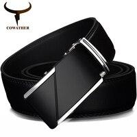 COWATHER VACA Cinturones de Cuero genuino para Los Hombres de Alta Calidad de la Marca Masculina Automática Hebilla Del Trinquete de 1.25
