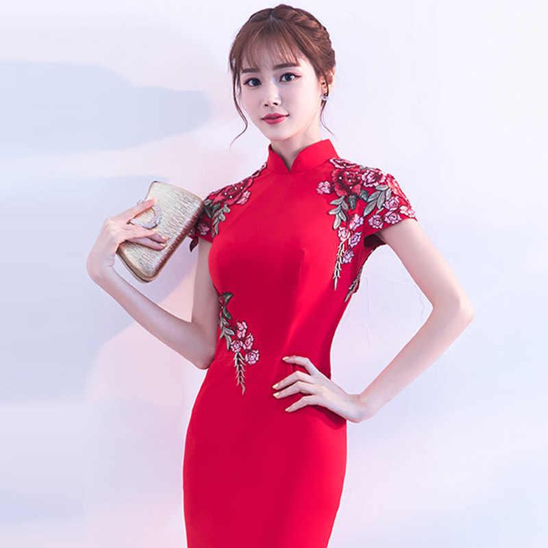 2018 אופנה רקמת מודרני Cheongsam אדום קצר Qipao מסורתי סיני מזרחי שמלות שמלת ערב הכלה מסורות