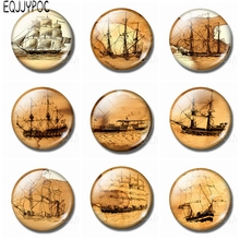 Old Drawings of Sailing Boat 30MM Fridge Magnet Crystal Vintage Decoration Refrigerator Magnetic Round Stickers Souvenir