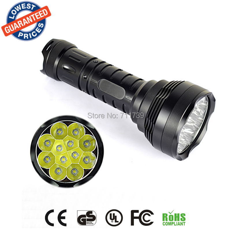 Super bright tactical flashlight 12T6 Flashlight 12x Cree XM-L T6 5-Mode 13000Lumen Tactical Led Flashlight Lantern rechargeable 2000lm tactical cree xm l t6 led flashlight 5 modes 2 18650 battery dc car charger power adapter