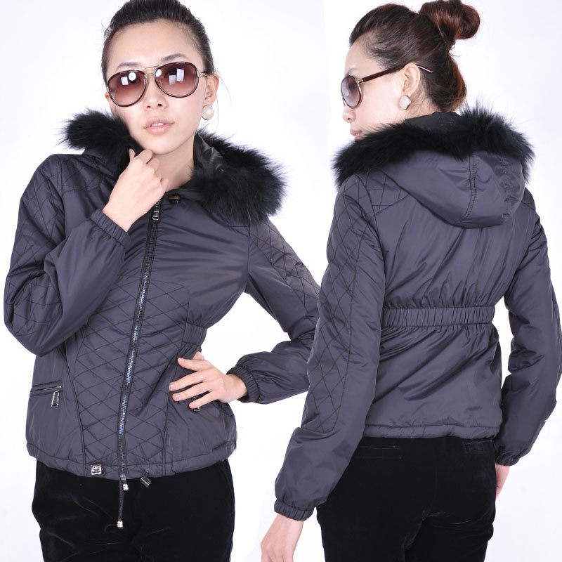 Winter Women Short Black Down Jacket Coat With Real Raccoon Fur ...