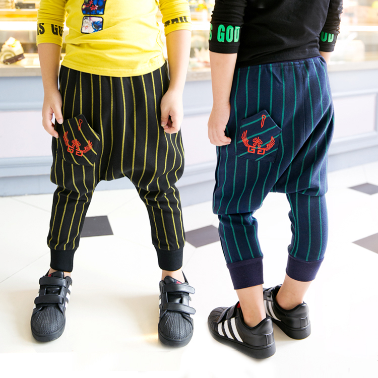 2015 autumn male child Fashion England Style stripe casual harem pants boys children s fashion long