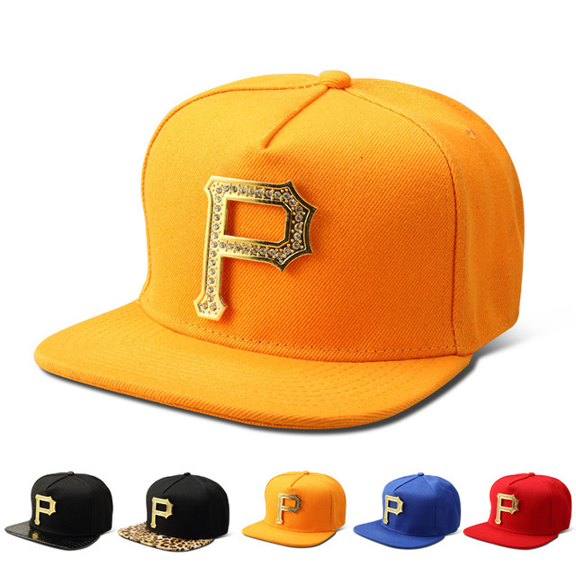 High quality P Letter Rhinestone Baseball Caps Women men sports Bling  Golden Snapback Hats Gorras Adjustable hip hop hat cca2a264da3d