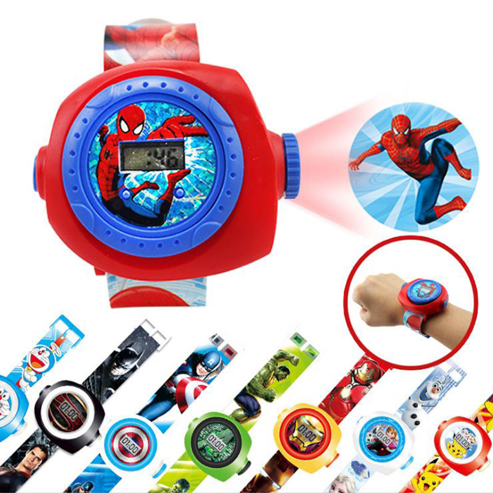 Kids Watch Montre Enfant Cartoon 3D Projection Spiderman For Baby Girl Boy Children Sport Digital Wrist Watches Relojes 2019