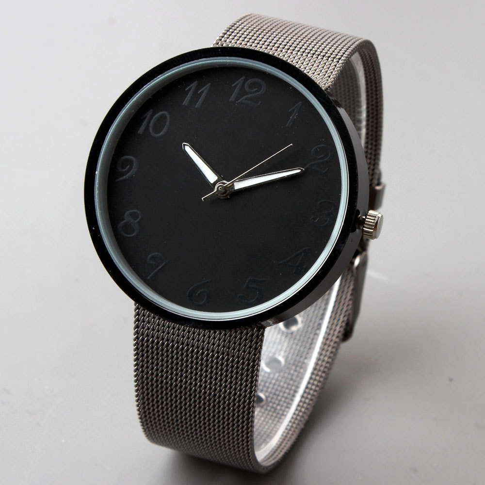 mesh stainless metal ultra new watch watches brand steel casual japan black quartz top male men clock strap thin luxury