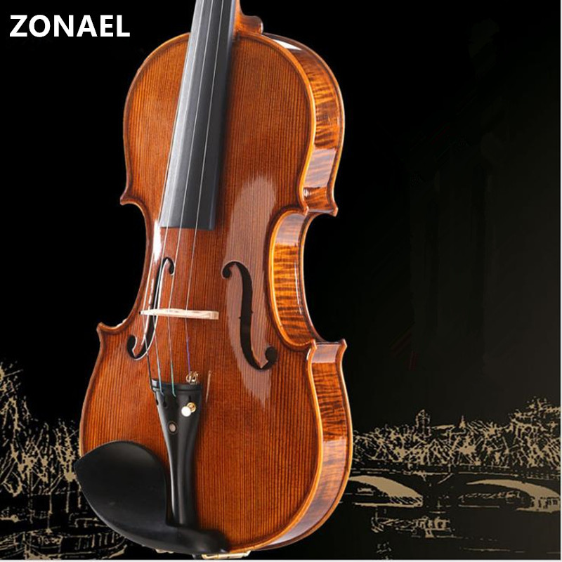 ZONAEL Handmade Violin 4/4 3/4 1/4 1/8 Craft Stripe Violino Maple Students Beginner w/ Case Mute Bow Dark Wood  Pinus Bungeana brand new handmade colorful electric acoustic violin violino 4 4 violin bow case perfect sound