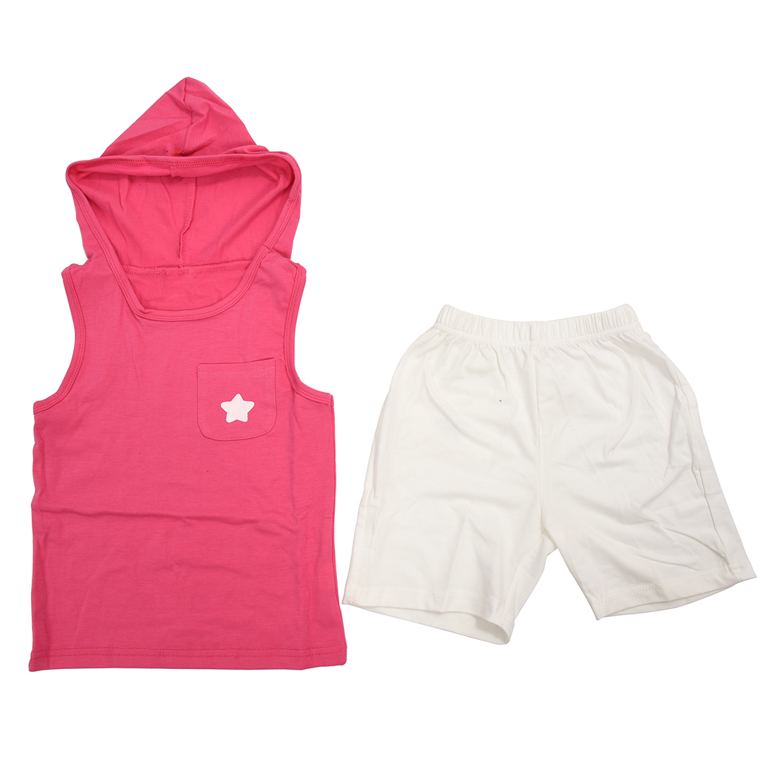 MACH boy girl children clothing cotton summer cloth baby kids clothing suit set vest + short hooded sports sets star pink 110cm