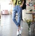 Лето Рваные Джинсы Для Женщин Кросс-брюки Джинсы Femme Джинсовые Высокой Талией Джинсы