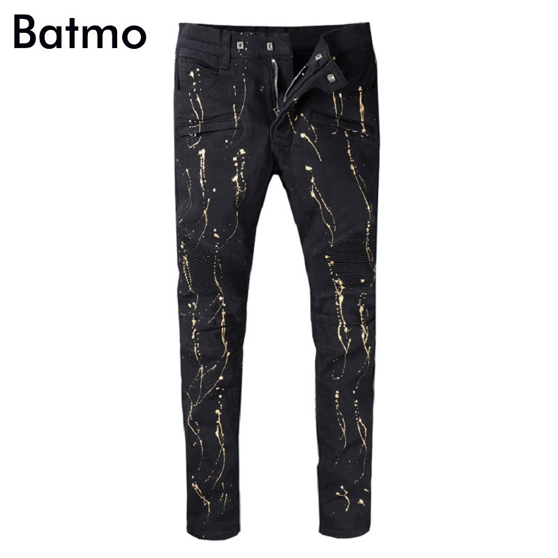 Batmo 2018 new arrival high quality high street Pleated casual jeans men,mens denim skinny pants,mens fashion black jeans A982