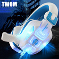 TWOM PC Game Luminous Headset with HD Microphone for Computer Subwoofer Headband Big Headphones Stereo Bass Earphone 40mm Unit