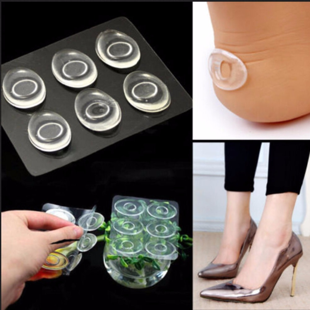 KuZHEN 6Pcs Self-Adhesive Silicone Gel Shoe Insole Inserts Pad Cushion Foot Care Heel Grips Liner