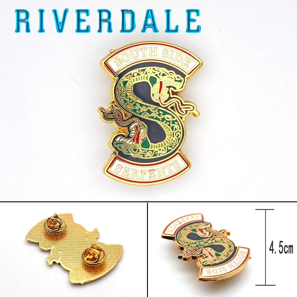 Giancomics Riverdale Badge Hot Movie Symbol Alloy Pins Brooches Serpents Pattern Cosplay Costume Novelty Ornament Breastpin
