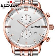 Switzerland men's watch luxury brand Wristwatches BINGER Quartz clock glowwatch full stainless steel Chronograph Diver B1122-3