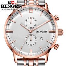 Switzerland men's watch luxury brand Wristwatches BINGER Quartz clock glowwatch full stainless steel Chronograph Diver B1122-3