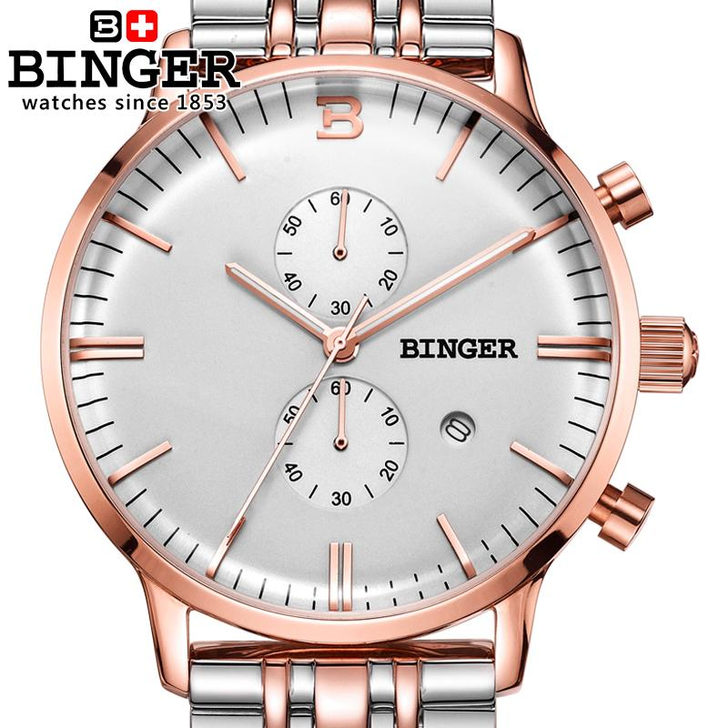 Switzerland men's watch luxury brand Wristwatches BINGER Quartz clock glowwatch full stainless steel Chronograph Diver B1122-3 switzerland men s watch luxury brand wristwatches binger quartz watch full stainless steel chronograph diver glowwatch bg 0407 4