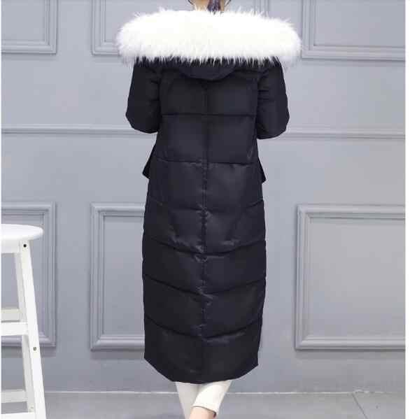 X-طويل مقنع الفراء سترة الشتاء النساء سترة 2017 جديد دافئ البخاخ سترة زائد حجم أسفل القطن مبطن معطف زيبر أبلى h735