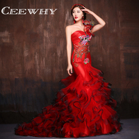 CEEWHY Handmade One Shoulder Court Train Luxury Evening Dress Ruffles Peacock Embroidery Formal Mermaid Dress Evening Gowns
