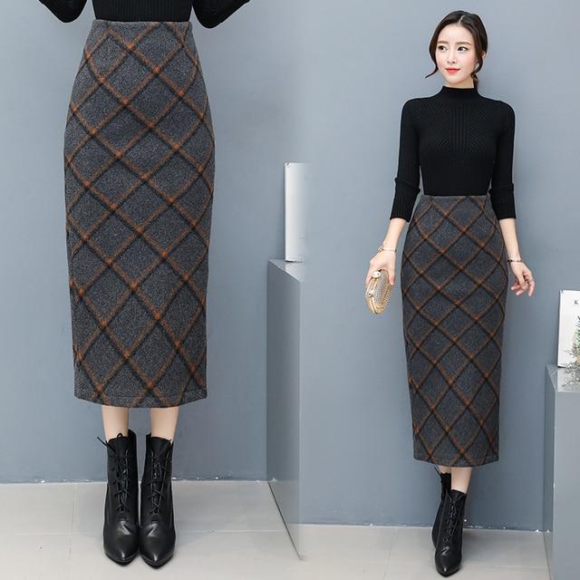 5d5711b5ee Women skirts fashion 2018 autumn winter female high waist plaid split slim  hip midi long checkered