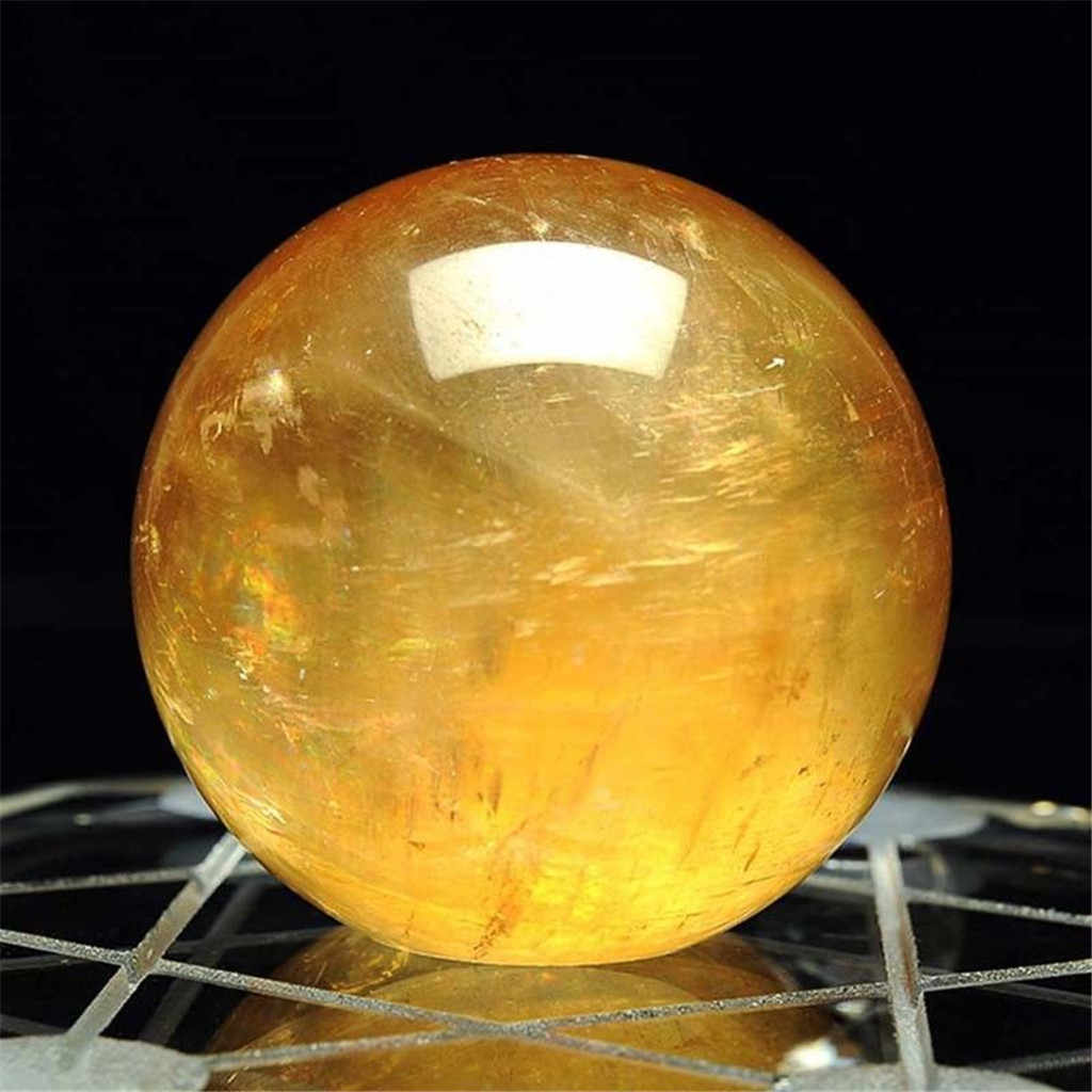 装飾ボール 40 ミリメートルナチュラルシトリン水晶球ボールミニチュアボールヒーリングジェムストーングローブユニークな装飾家の装飾のギフト