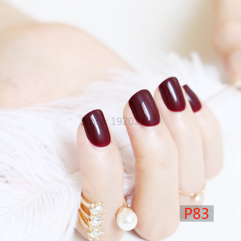 2017 fashion beautiful candy color Nail finished fake nails short paragraph 24pcs Deep burgundy P83