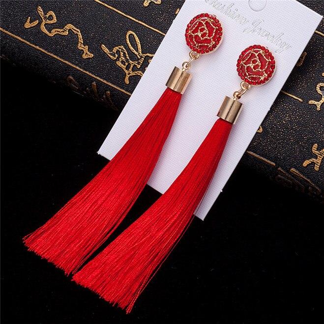 HOCOLE Bohemian Crystal Tassel Earrings Black White Blue Red Pink Silk Fabric Long Drop Dangle Tassel Earrings For Women Jewelry