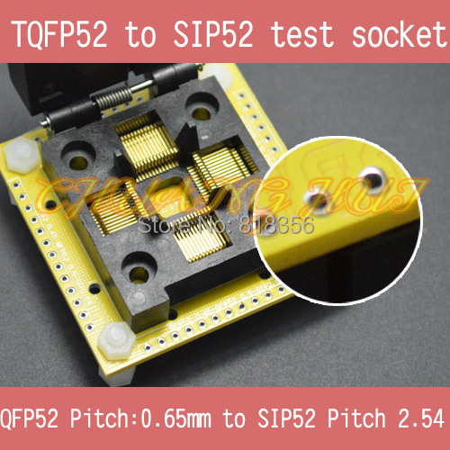 IC TEST QFP52 to SIP52 test socet FPQ52 TQFP52 LQFP52 0.65mm to SIP52 2.54mm IC SOCKET FPQ-52-0.65-02