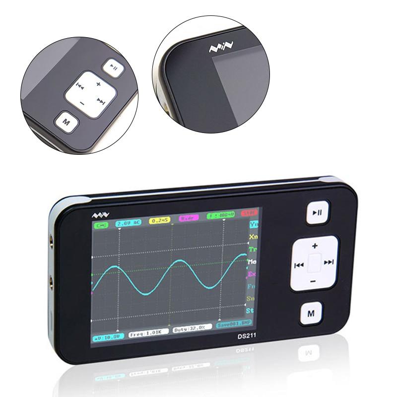 цена на DS211 Osciloscopio Automotive Pocket Size Portable ARM Mini Digital Oscilloscope USB 2.8 DSO211 with Oscilloscope Probes