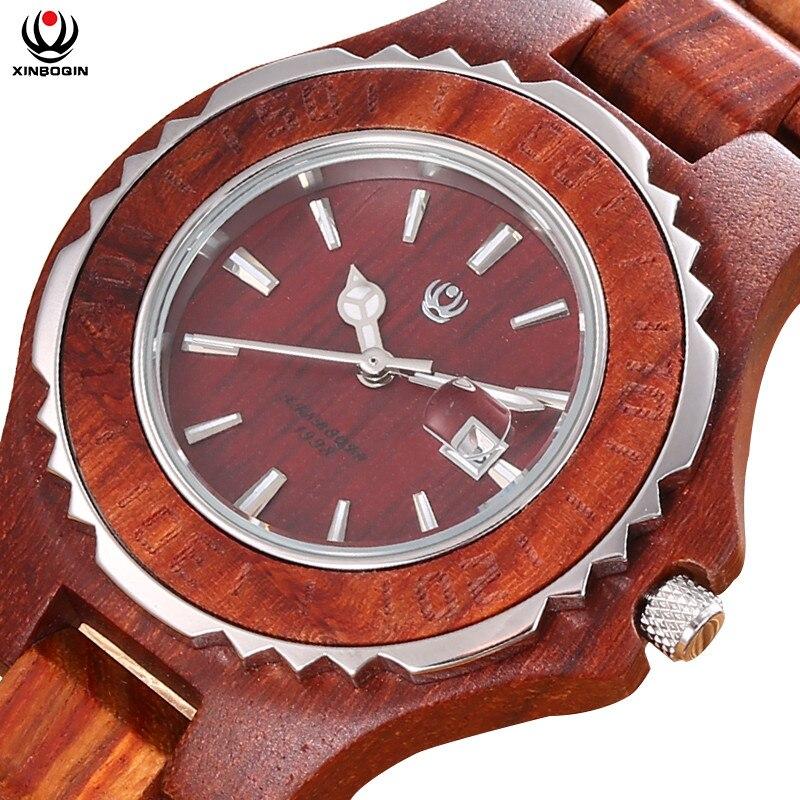 Amantes de Quartzo Relógios de Alta Relógio de Pulso Xinboqin Marca Woden Relógio Japão Qualidade Natural Sândalo Casal Calendário Masculino Relógios