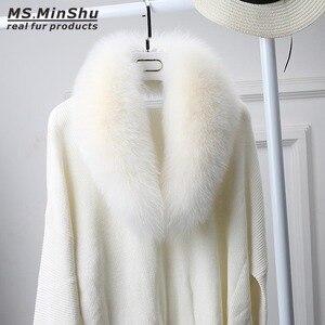 Image 3 - Ms.MinShu bufanda de cuello de piel de zorro genuino para mujer, bufanda de piel de zorro 100%, piel de zorro Natural, calentador de cuello, hecho a medida
