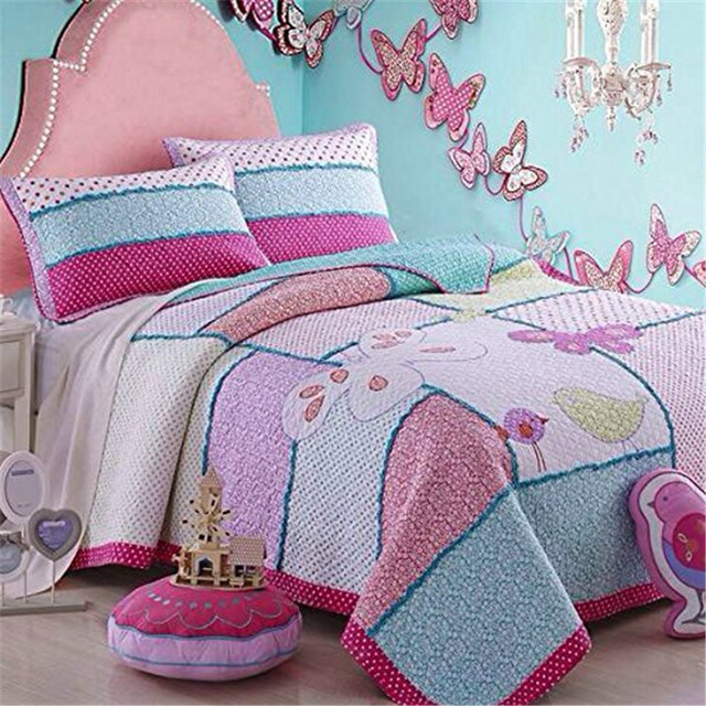 Fadfay Home Cotton Kids Bird Butterfly Comforter Set Girls Patchwork