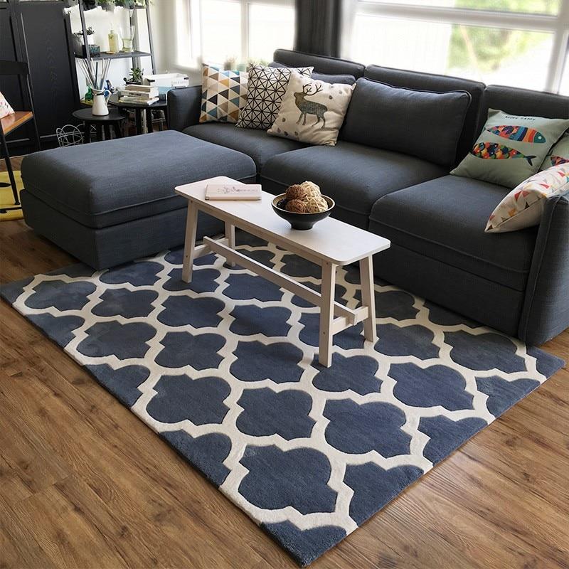 Modern Style Geometric Gray Carpet , Living Room Coffee Table Carpet,, Pastoral Home Decoration Trellis Mat