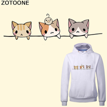 ZOTOONE Cute Cat Iron on Transfer Patches for Kids Clothes DIY T-shirt Applique Heat Vinyl Thermal Stickers