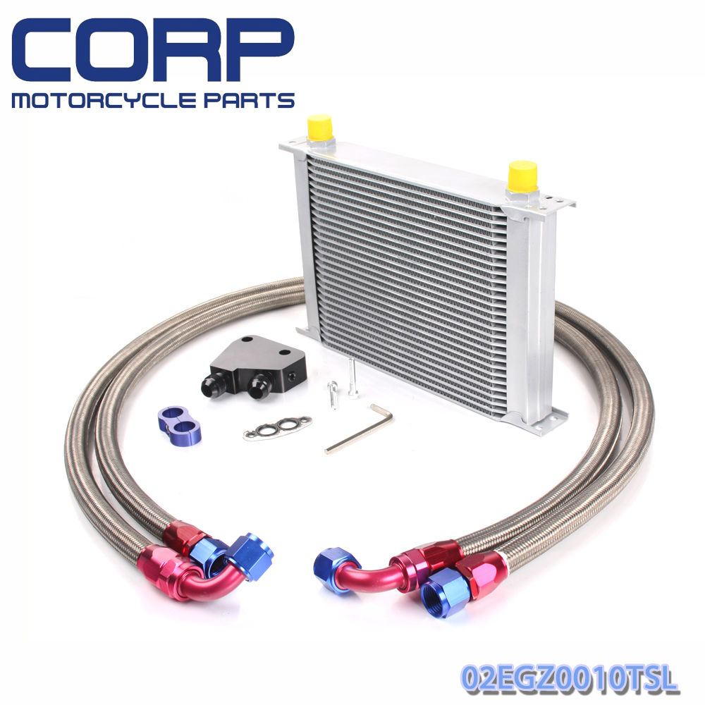 Universal 25 Row JDM Engine Oil Cooler Kit + Sandwich Plate + AN10 Oil Lines Kit отвертка с трещоткой и битами truper jdm 24 25 предметов