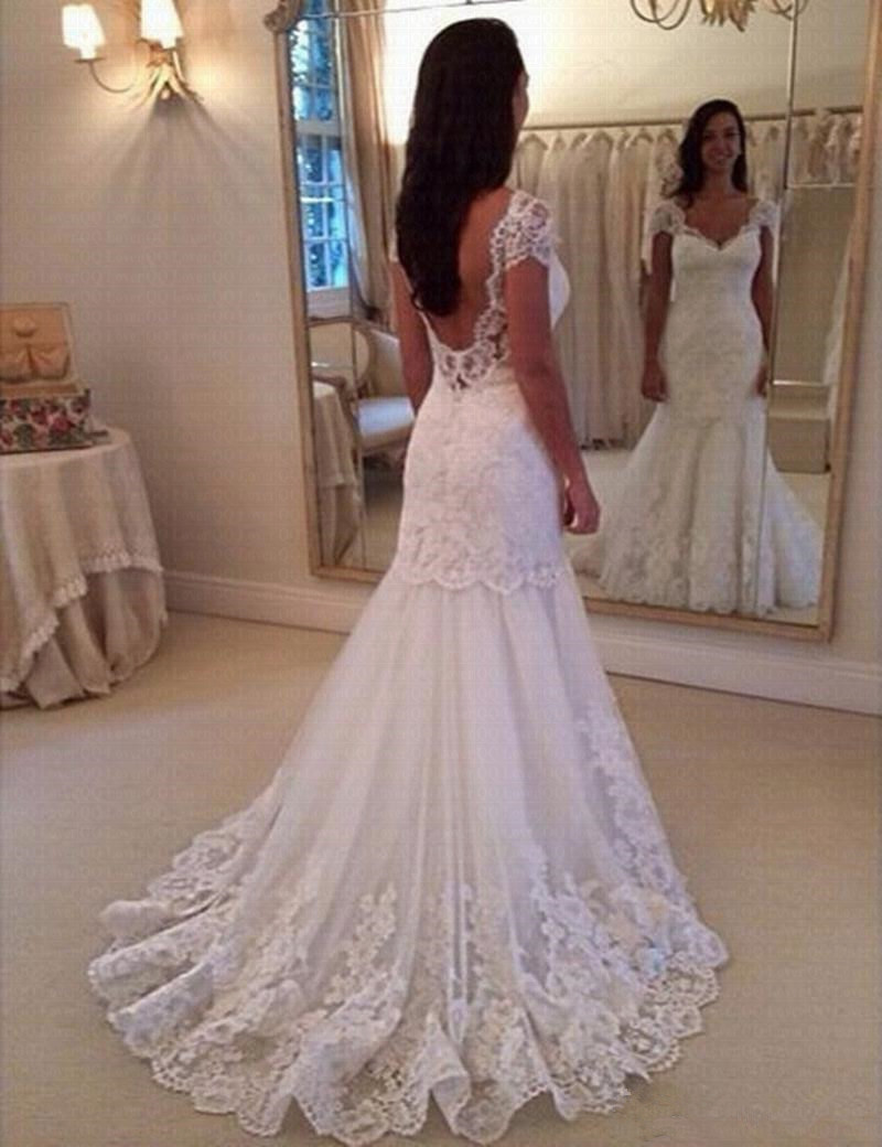 Vestido De Noiva Cap Sleeve Vintage Lace Mermaid Wedding Dress 2019 V-Neck Mariage